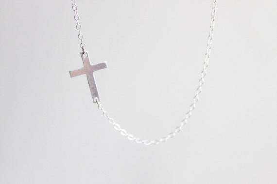 Sideways Cross Necklace - sterling silver cross pendant simple everyday jewelry  by petitor