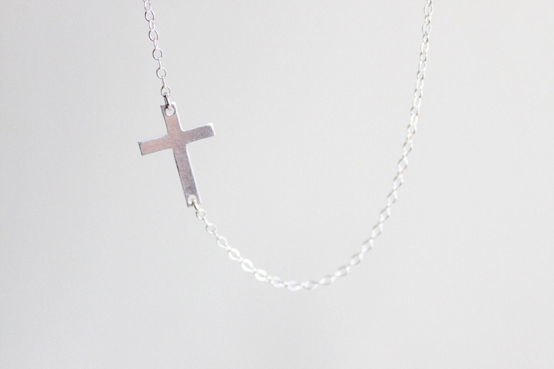 Sideways Cross Necklace sterling silver cross pendant simple