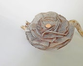 Fabric flower pin, Fabric Flower brooch, grey color, fabric flower, Ready to ship, shipping included, Free shipping