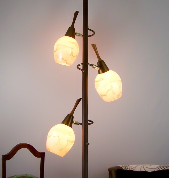 Lamp Ceiling To Floor: Vintage Tension Pole Lamp Eames Era Glass Globes Floor To