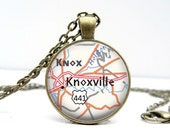 Knoxville Map Necklace Tennessee Map Glass Dome Pendant Art Pendant Picture Pendant Photo Pendant (1269)