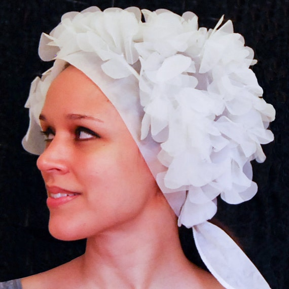 Early 1960s White Tulle Swim Bonnet