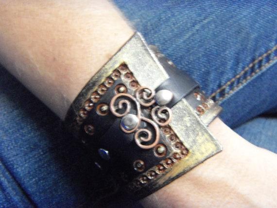 Tooled Leather Black & Gold Antiqued Wrist Cuff Steampunk Bracelet