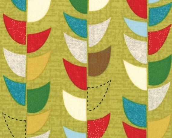SALE - Mod Century - Vine Stripe Chartreuse green by Jenn Ski from Moda