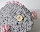 Grey blowfish amigurumi toy  'Anne-Marie'