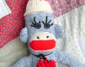 Traditional Handmade Blue Sock Monkey