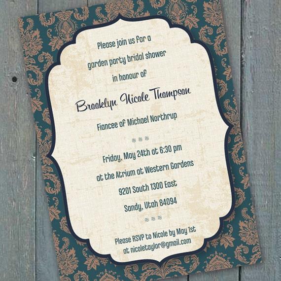 bridal shower invitations, teal bridal shower invitations, cream and teal wedding invitations, fall wedding, teal retirement, IN168