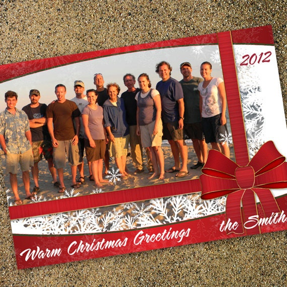 Christmas cards, ribbon and bow Christmas card, snowflake holiday card, gifts for Christmas card, red Christmas, family Christmas card CC005