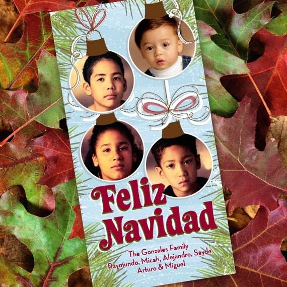 Christmas cards, Feliz Navidad photo card, ornaments photo card, 4x8 photo card, Feliz Navidad ornaments, Spanish Christmas card, CC033