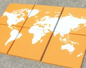 """world map canvas . 6 - 12x12's . custom colors hand painted original art . 36""""x24"""" total . orange, navy blue, teal, red, gray. sincerelyYOU"""