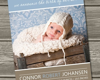 Baby Boy Birth Announcement Photo Card (Digital File) Conner - I Design, You Print
