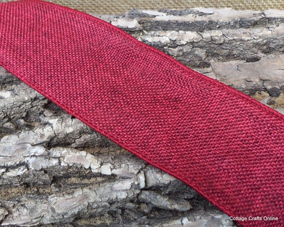 "Wired Ribbon, 2 1/2"" wide, Red Heather Burlap / Linen Look -  THREE YARDS - Offray ""Solitude"" #211 Christmas, Fall Craft Wire Edge Ribbon"