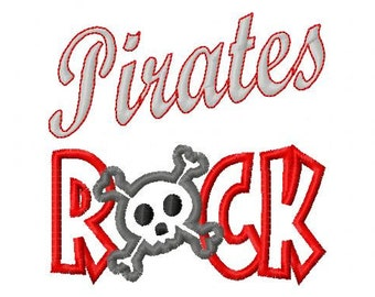 Pirates ROCK 2 - Crossbones - Applique - Machine Embroidery Design -  9 sizes