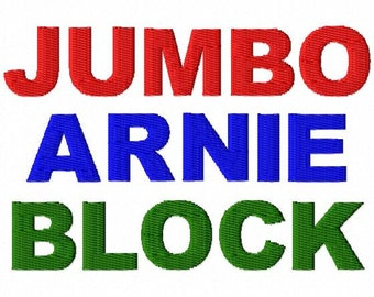 "JUMBO Arnie Block Machine Embroidery Font - Sizes 5"",6"",7"", and 5x7 Hoop - BUY 2 get 1 FREE"
