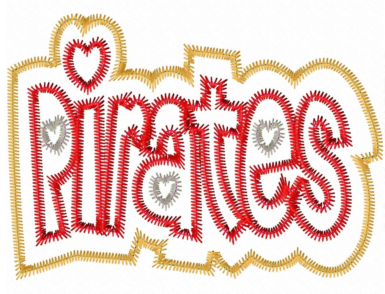 Pirates double applique zig zag outline by lillipadgifts