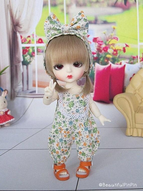 Lati yellow  / Pukifee : floral romper Green set - Last one