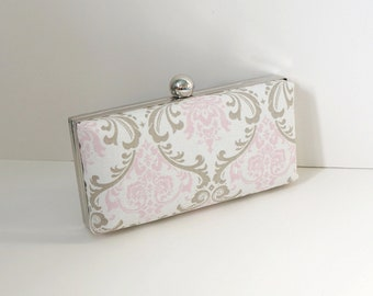 Chic Baby Pink Damask Clamshell Clutch Purse
