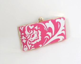 Chic Hot Pink Clamshell Clutch Purse