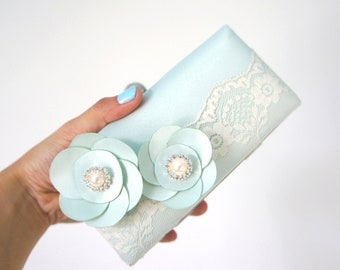 Romantic Mint Clutch Purse with Lace and Flower Adornments