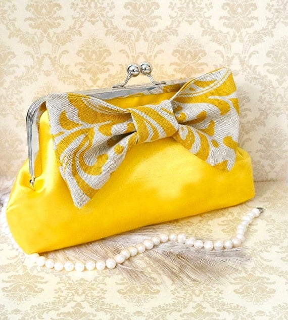 Yellow Clutch Purse with Big Bow- Custom