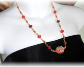 Colorful Necklace With Lampwork Focal Bead
