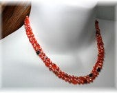 Orange Hand Knotted Two Strand Necklace
