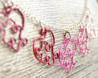 Puzzle Hearts Necklace - Lots O' Love - Red and Pink