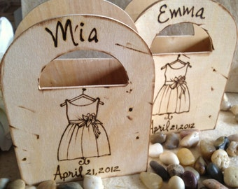 SET of 2 Flower Girl Baskets Personalized Gifts for Flower Girls with her DRESS Add Name or Date Shabby Chic for a Rustic Chic Wedding