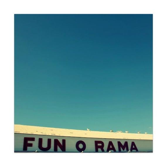 mid century carnival, carnival photograph, York Beach Maine, beach, summer, vintage, turquoise, white, red - Fun O Rama II 5x5 photograph