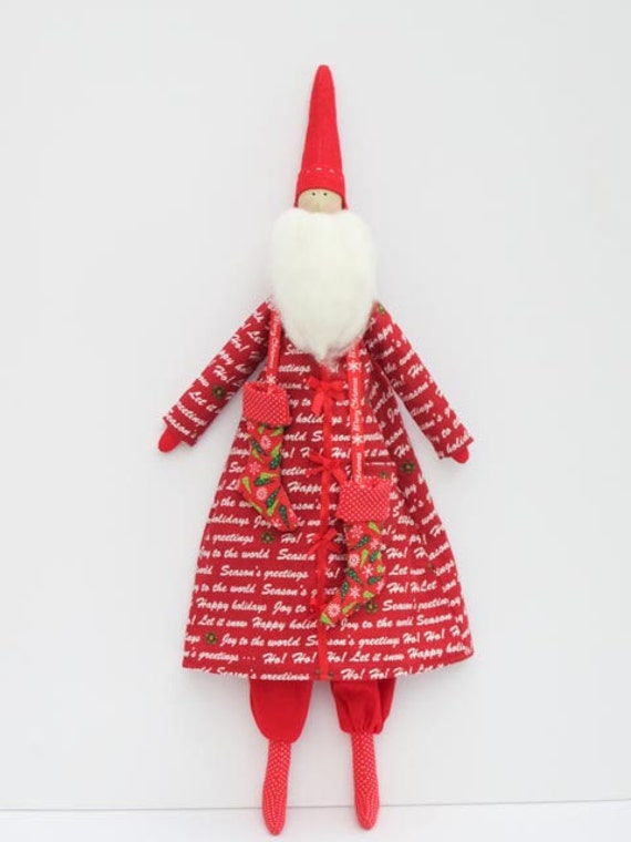 Santa Claus fabric doll stuffed doll, cloth doll rag doll handmade child friendly art doll with stockings RESERVED for PAOLA
