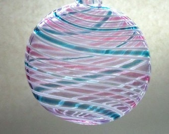 Puffy Flat Round Ornament / Suncatsher  - Purple Teal Ruby : DISASTER RELIEF