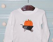Custom boutique personalized appliqued monogrammed Fall Pumpkin Wheelbarrow t shirt tshirt tee boys girls long sleeve short sleeve