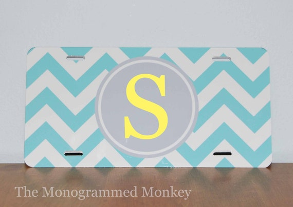 Custom Boutique Personalized Monogrammed Turquoise Grey Chevron metal car license plate tag