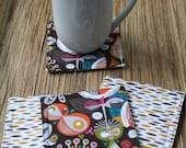 Coasters Set of 4 in Mid Century Modern Print Fabric Coaster