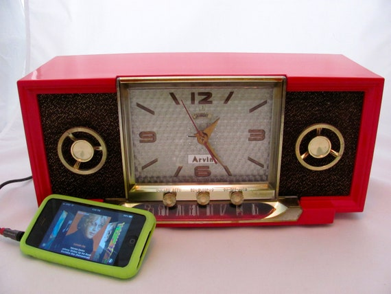 Reserved for Charles        Arvin Clock Radio iPod Ready Model 857T 1955