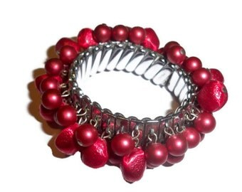 SALE Cha Cha Vintage Expandable Red and Silver Bracelet - Made in Japan - Salsa Bracelet  - Collectable Bracelet - Retro Style