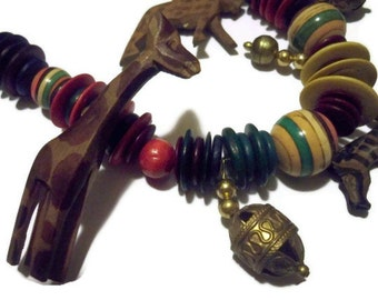 Wearable ART - Vintage Bohemian Bold Wooden Choker Necklace - Animals and Bells