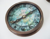 solid brass Zodiac Compass with antique finish