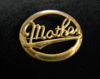 """antique gold toned """"MOTHER"""" brooch"""