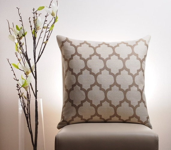 Modern Moroccan Pillows : Items similar to Moroccan Pillow Cover, Taupe Pillow, Modern Pillow, Trellis Pillow, Quatrefoil ...