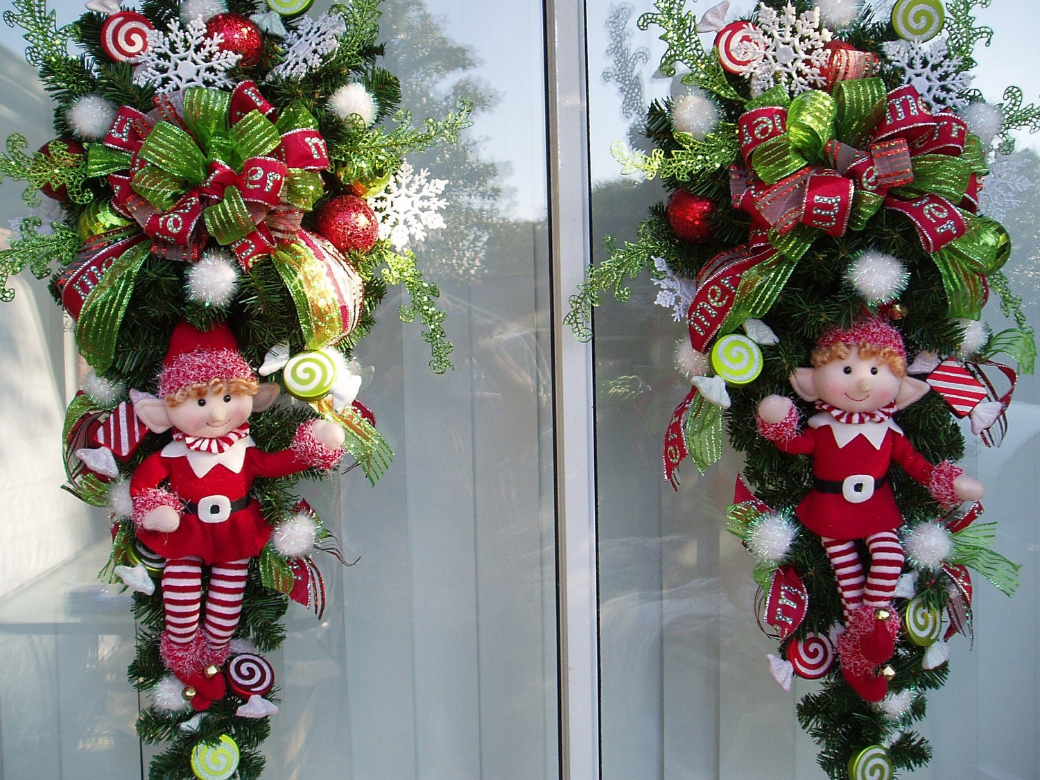 Christmas Holiday Double Door Wreath Swag With Red Outfitted
