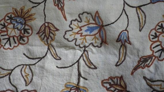 Crewel Flowered Upholstery Fabric Vintage