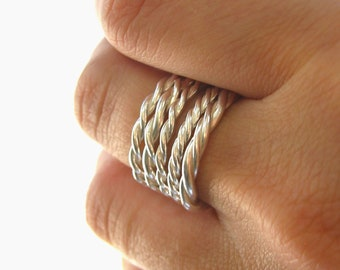 Twisted Sterling Silver Stacking Bands- Set of 5- Stack rings- Mix and Match rings for a unique look