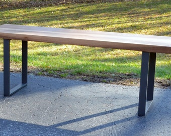 Solid Walnut and steel bench
