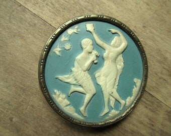 vintage cameo button - extra large - cameo - brooch - vintage button - coat button - Wedgwood style - Venus - Pan - pale blue - supplies
