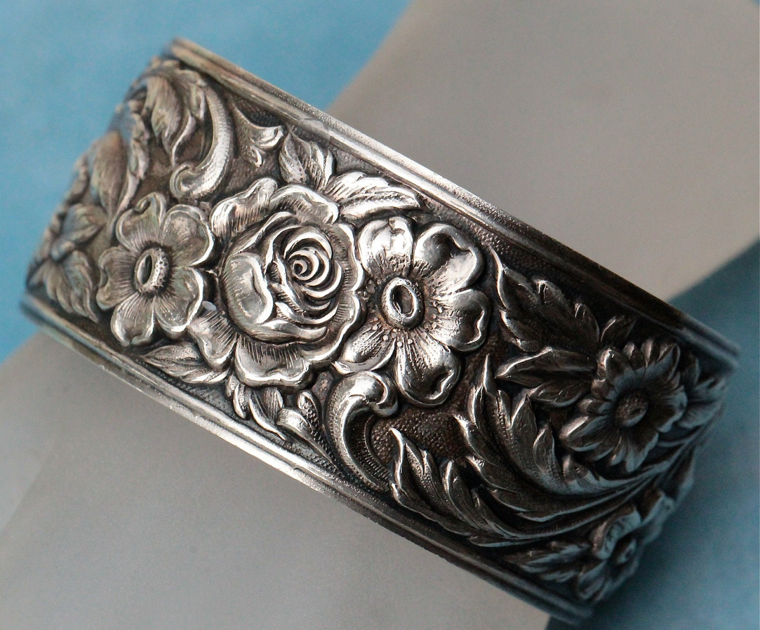 Antique S Kirk And Son Sterling Rose Floral Repousse Cuff