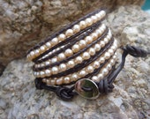Chan Luu style  freshwater pearl wrap bracelet on brown leather.