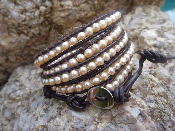 Chan Luu style  freshwater pearl wrap bracelet on brown leather.