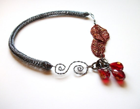 Viking Knit Necklace - Asymmetrical Beadwoven Autumn Leaves in Red and Gunmetal Grey