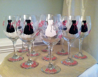 3 Personalized Bride and Bridesmaid Wine Glasses